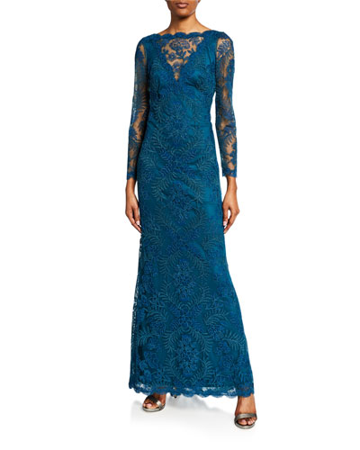 High-Neck Bracelet-Sleeve Corded Lace Gown