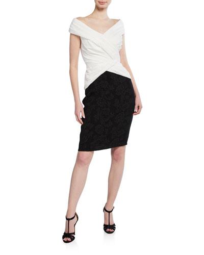Off-The-Shoulder Colorblock Hammered Crepe Short-Sleeve Dress