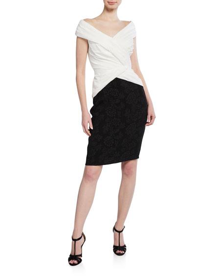 Tadashi Shoji Off-The-Shoulder Colorblock Hammered Crepe Short-Sleeve Dress