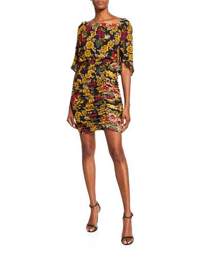 Leandra Floral High-Neck Shirred Silk Dress