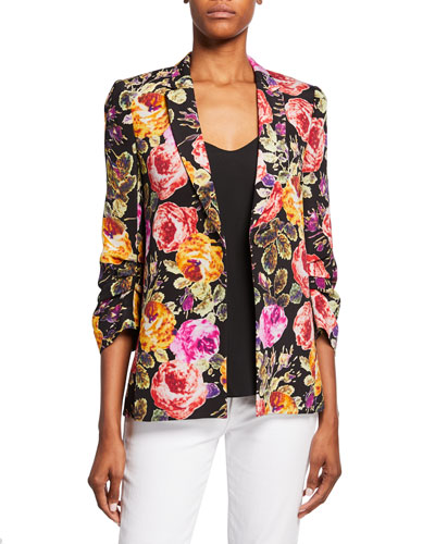Dana Floral One-Button 3/4-Sleeve Silk Jacket