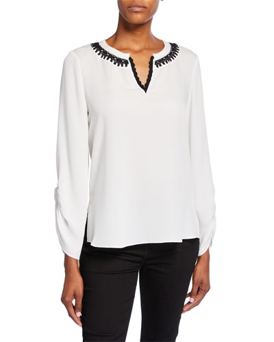Geri Long-Sleeve V-Neck Silk Blouse