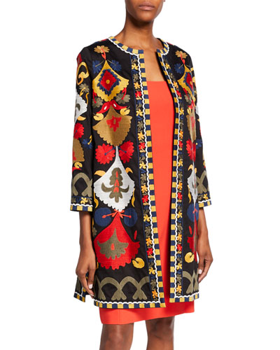 Amber Embroidered 3/4-Sleeve Coat
