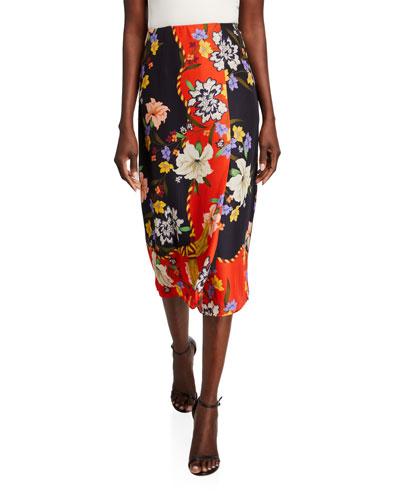 Mercier Floral-Print Midi Skirt