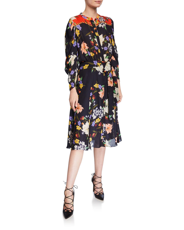 Kobi Halperin Dresses LEILA FLORAL BUTTON-FRONT LONG-SLEEVE DRESS