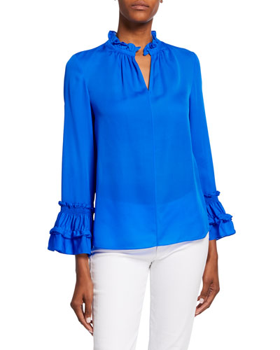 Alison V-Neck Long-Sleeve Silk Ruffle Blouse