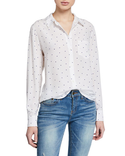 Kate Heart-Print Button-Down Blouse