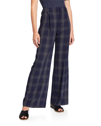 Plaid Wide-Leg Pants