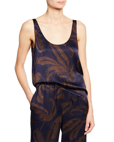 Palm Leaf Scoop-Neck Satin Tank