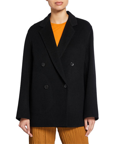 Wool-Blend Double-Breasted Cardigan Coat