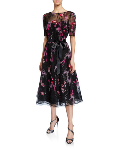 Elbow-Sleeve Embroidered Tulle Cocktail Dress w/ Sequin Underlay