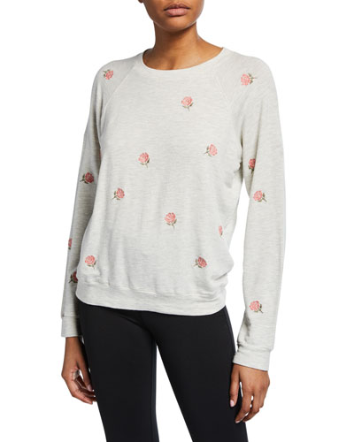 Rose Embroidered Raglan-Sleeve Vintage Sweatshirt