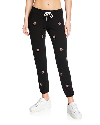 Rose Embroidered Vintage Drawstring Sweatpants