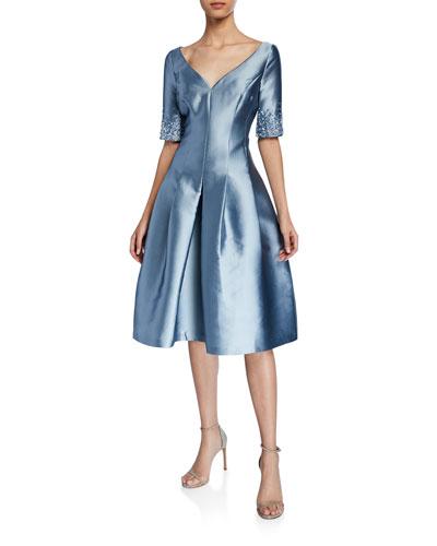 V-Neck Short-Sleeve Gazar Fit-&-Flare Dress w/ Crystal Trim
