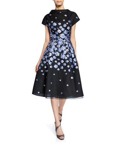 Roll-Neck Cap-Sleeve Flower-Patterned Jacquard Dress