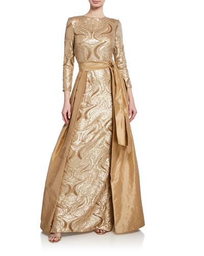Long-Sleeve Sequin Gown w/ Taffeta Overlay