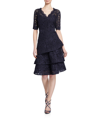 Elbow-Sleeve Tiered Lace Dress