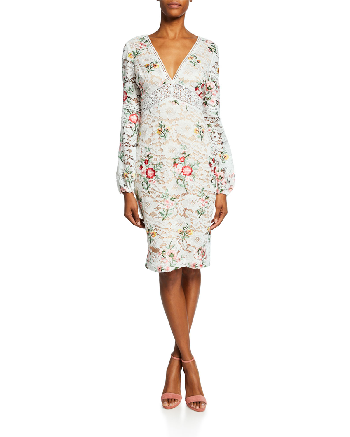 Badgley Mischka Dresses Floral-Print Long-Sleeve Boho Lace Cocktail Dress