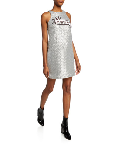 Sequin Applique Sleeveless Mini Dress