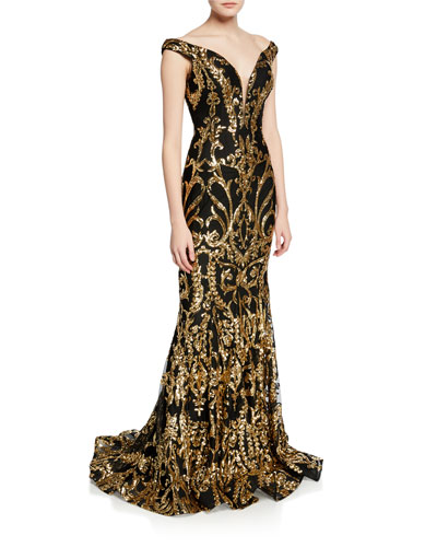17f7d7a7b3 Black Gold Gown