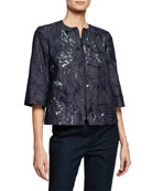 Lafayette 148 New York Etched Palm Zip-Front 3/4-Sleeve