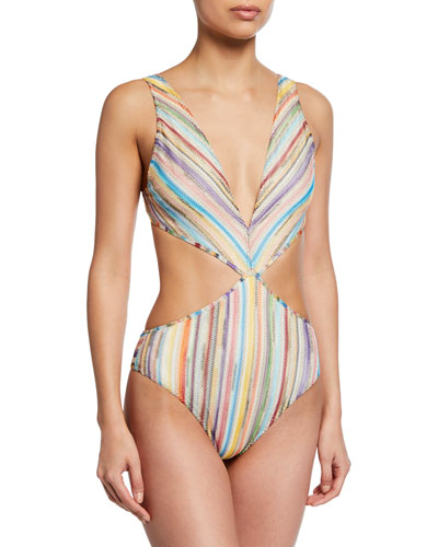 Plunging Knit Cutout One-Piece Swimsuit