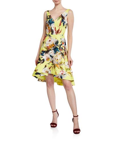 Dene Floral-Print High-Low Cocktail Dress