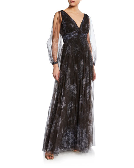 Marchesa Notte Floral-Print Pleated V-Neck Bishop-Sleeve Tulle Gown