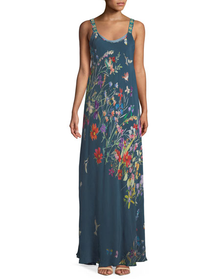 Johnny Was Petite Floral-Print Maxi Tank Dress