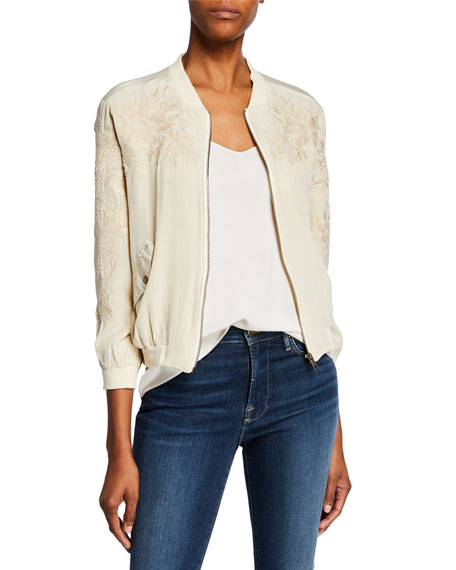 Johnny Was Petite Tyrell Silk Bomber Jacket w/ Embroidery