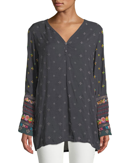 Johnny Was Petite Embroidered-Trim Long-Sleeve Tunic