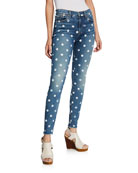 7 for all mankind High-Waist Ankle Skinny Polka