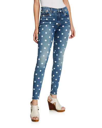 High-Waist Ankle Skinny Polka Dot Jeans