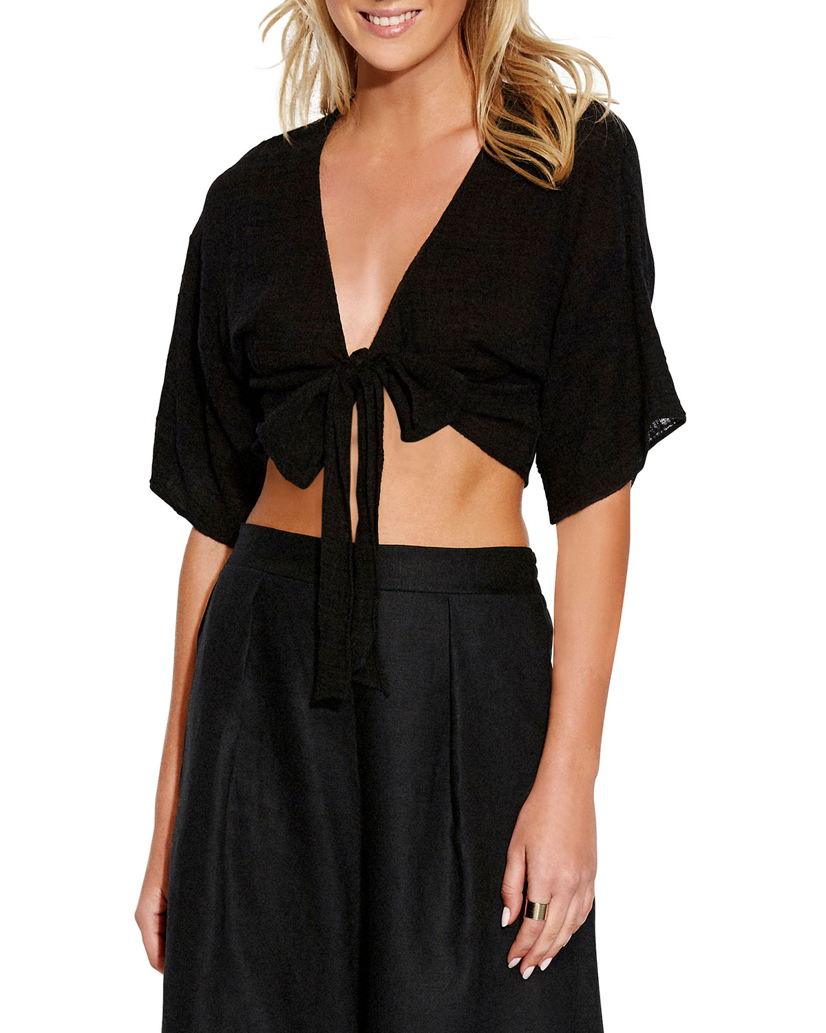 Seafolly Tops Textured Gauze Tie-Front Coverup Top