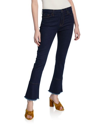 Ankle Skinny Jeans with Ruffle Hem