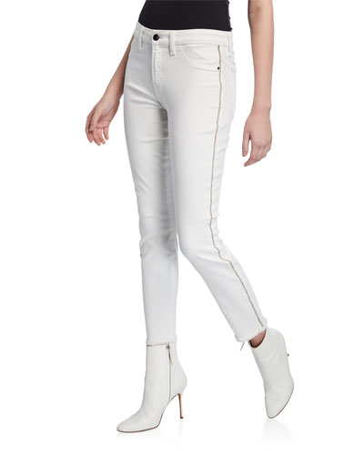 Ankle Skinny Frayed-Hem Jeans with Rhinestones