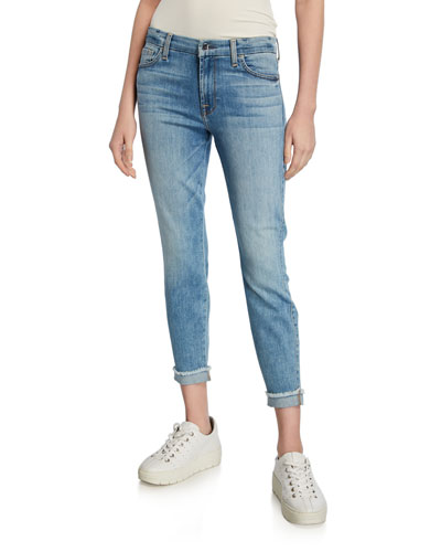 Cropped Skinny Jeans with Cuffed Frayed Hem