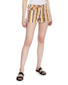 FRAME Le Cut Off Painterly-Stripe Denim Shorts