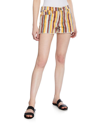 Le Cut Off Painterly-Stripe Denim Shorts