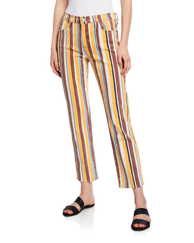 Le High Straight Painterly Stripe Jeans