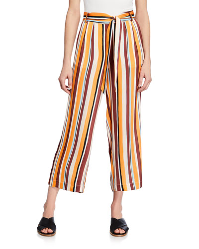 Cropped Clean Striped Easy Pants