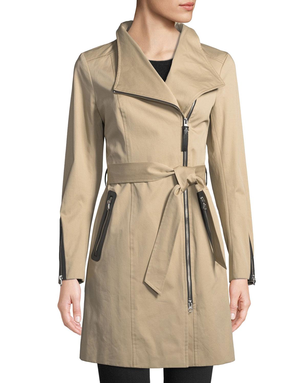 Mackage Coats ESTELA BELTED TRENCH COAT W/ CONTRAST ZIPPERS