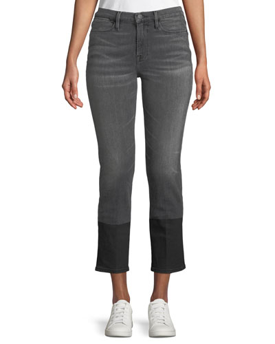 Le High Straight-Leg Cropped Jeans w/ Coated Hem