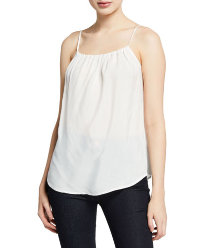 Square-Neck Shirred Camisole