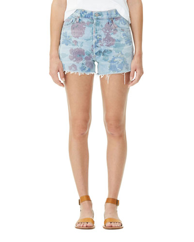 Kristen Floral-Print High-Rise Light-Wash Denim Shorts