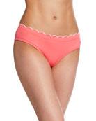 kate spade new york contrast-scalloped hipster bikini bottoms