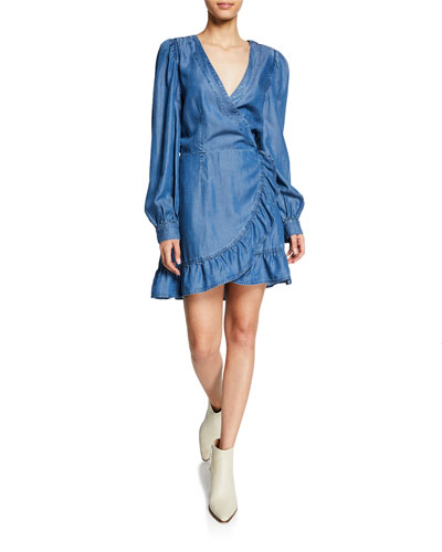 Kendry Long-Sleeve Ruffle Short Dress