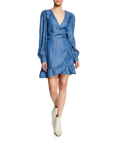 f37323b504 Quick Look. PAIGE · Kendry Long-Sleeve Ruffle Short Dress