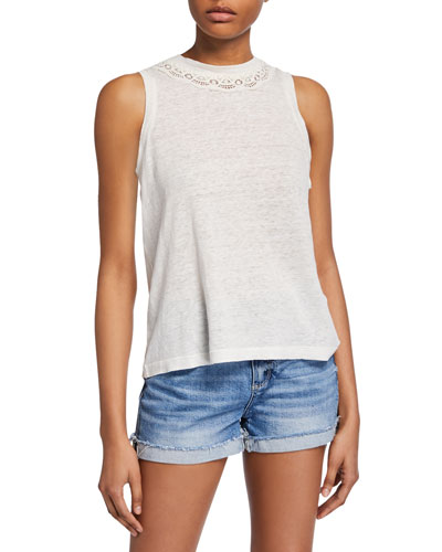 Raylina Crewneck Linen Tank with Lace Trim
