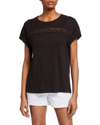 Payson Short-Sleeve Linen Tee w/ Lace Insets